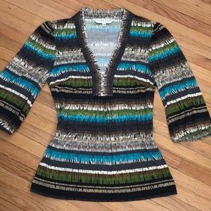 Trina Turk 100% silk stretchy bold print blouse